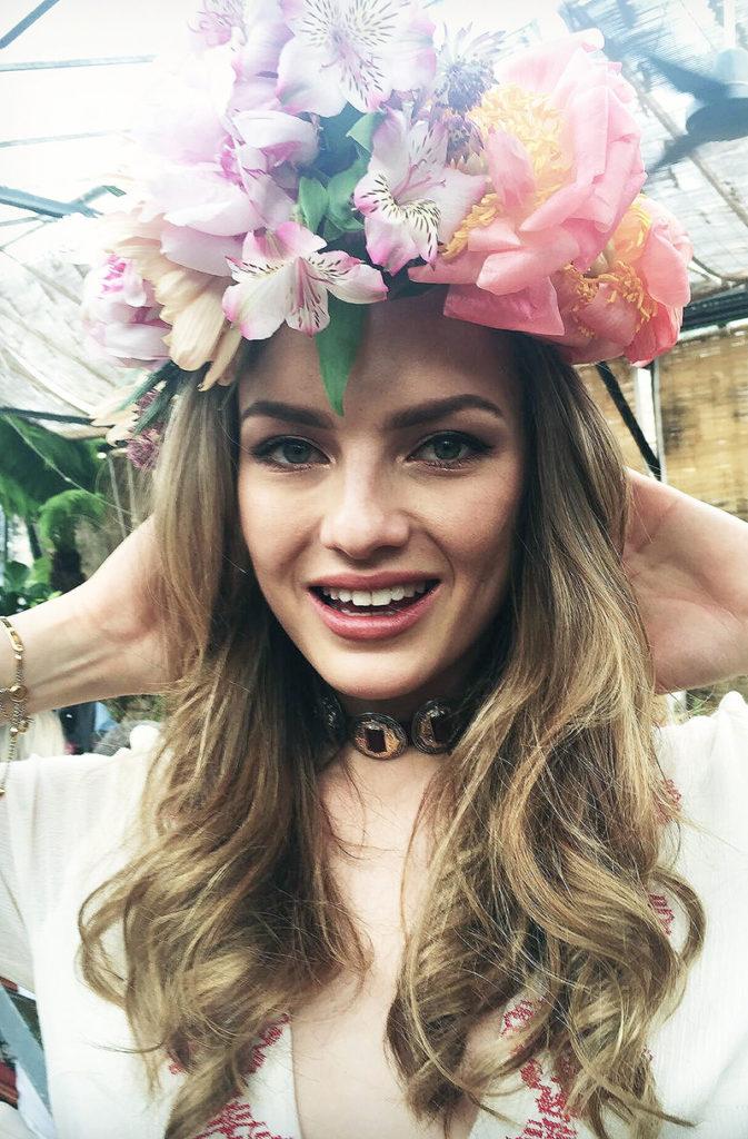 Girl Wearing Handmade Flower Crown at Masterclass