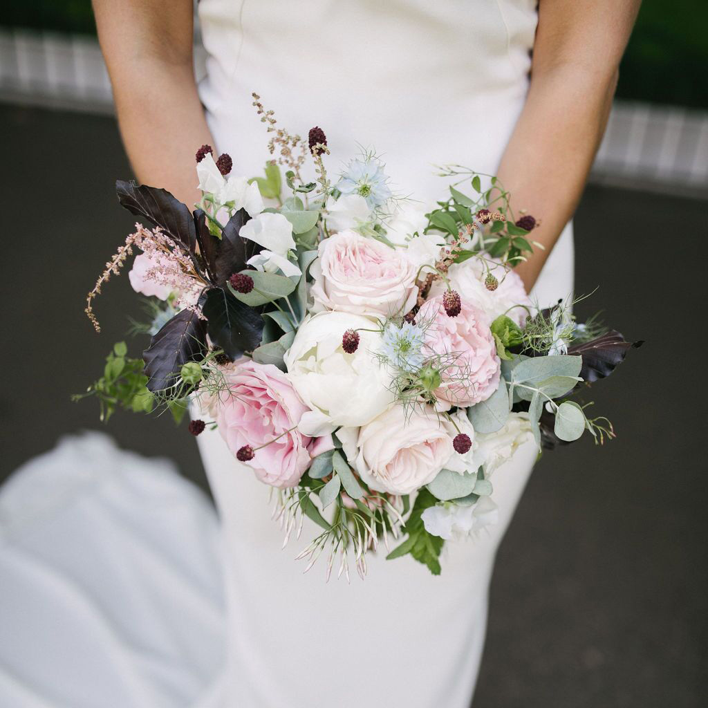 Summer Peony Rose Sanguisorba Bridal Bouquet