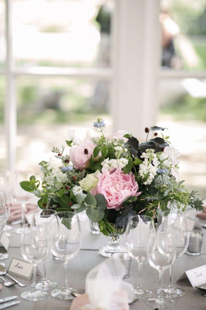 Summer Wedding Centrepiece Peony Rose Sanguisorba Mimosa Nigella Eucalyptus and Continus