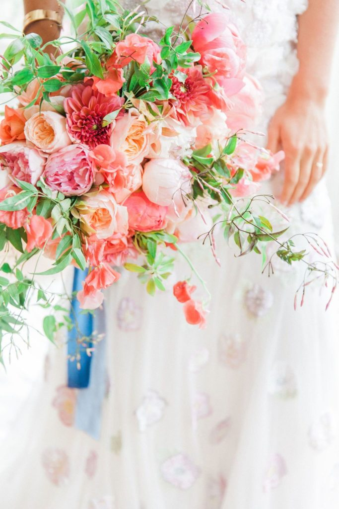 Bride Holding Colourful Wedding Bouquet