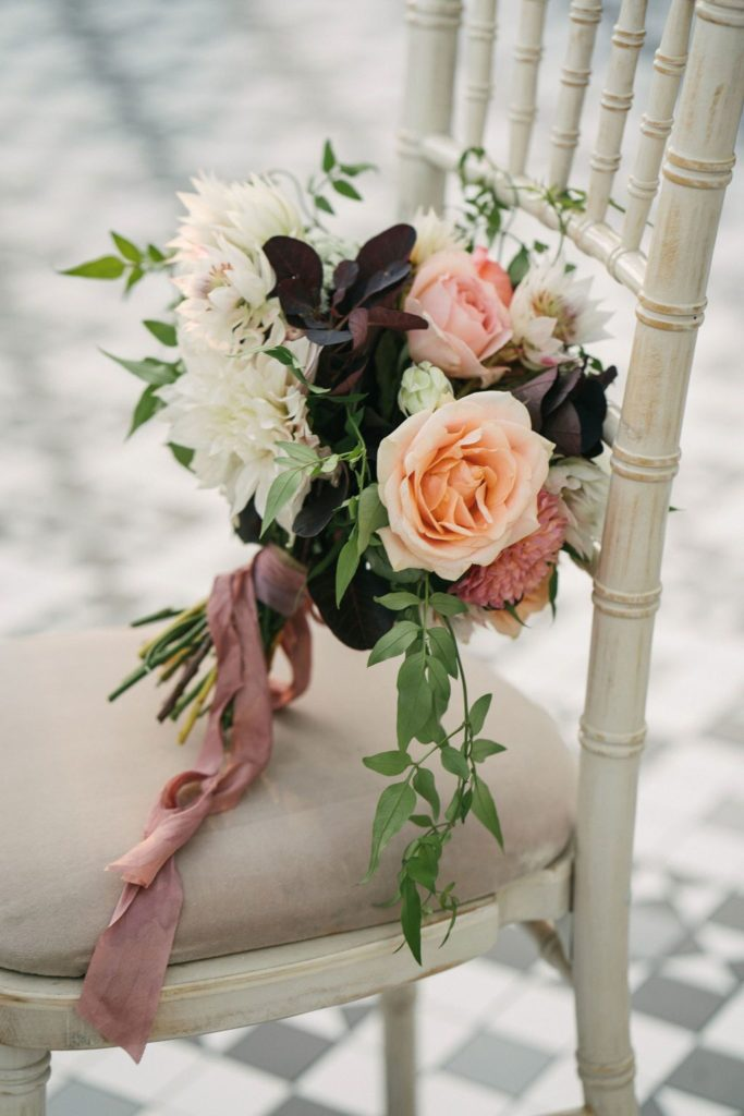 Summer Wedding Bouquet on Chair
